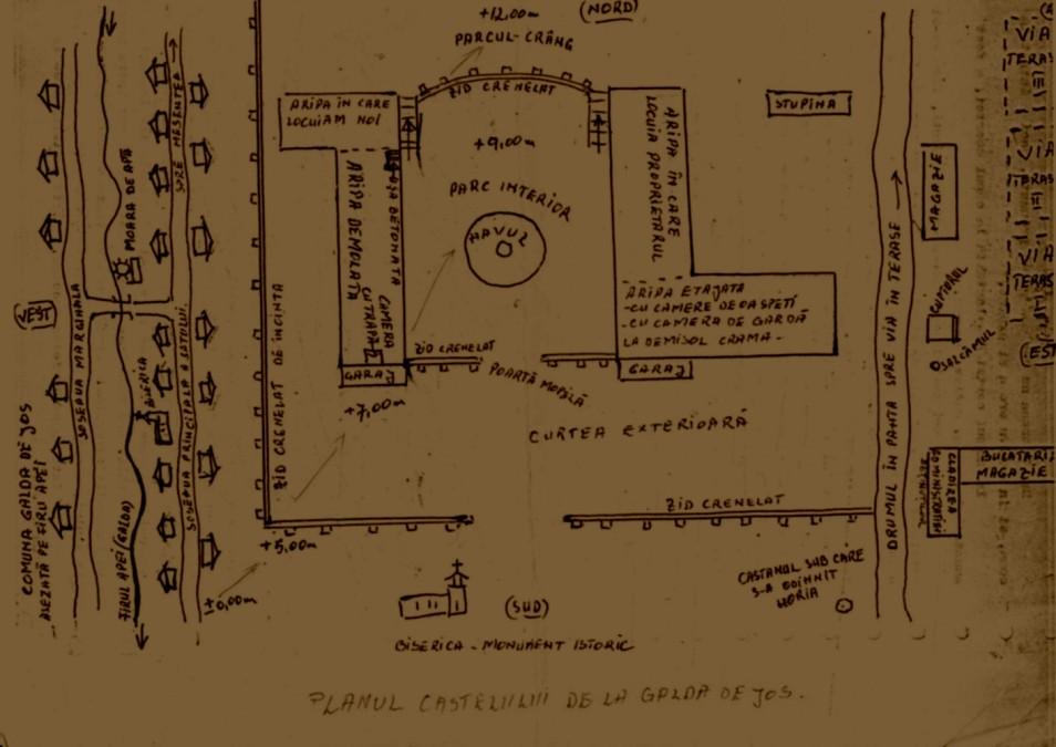 Planul Spitalului-penitenciar Targu Ocna, desenat de Virgil Maxim, fost detinutpolitic